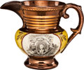 Political:3D & Other Display (pre-1896), Marquis de Lafayette: Small Copper Luster Pitcher.. ...