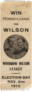 Political:Ribbons & Badges, Wilson & Marshall: Outstanding Jugate Ribbon Picturing a Campaign Button. . ...