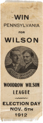 Wilson & Marshall: Outstanding Jugate Ribbon Picturing a Campaign Button