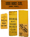 """Political:Ribbons & Badges, William McKinley: Collection of Four """"Sound Money"""" Ribbons.. ..."""