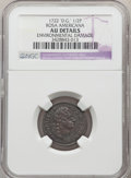 Colonials, 1722 1/2 P Rosa Americana Halfpenny, DG REX -- Environmental Damage -- NGC Details. AU. NGC Census: (0/6). PCGS Population:...