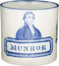 """Political:3D & Other Display (pre-1896), James Monroe: Extremely Rare and Sought-After Portrait Mug with His Name Spelled """"Munroe"""". . ..."""