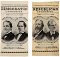 Political:Ribbons & Badges, Hayes & Wheeler and Tilden & Hendricks: Matched Pair of Woven Jugate Ribbons.. ... (Total: 2 Items)