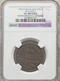 Colonials, 1786 New Jersey Copper, Narrow Shield -- Environmental Damage -- NGC Details. VG. NGC Census: (14/122). PCGS Population: (4/...