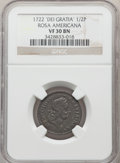 Colonials, 1722 1/2 P Rosa Americana Halfpenny, DEI GRATIA, UTILE VF30 NGC. NGC Census: (3/8). PCGS Population: (1/32). . From Th...