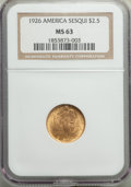 Commemorative Gold, 1926 $2 1/2 Sesquicentennial Quarter Eagle MS63 NGC. NGC Census: (1492/3788). PCGS Population: (2508/6792). CDN: $385 Whsle...