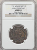 Colonials, 1722 PENNY Rosa Americana Penny, VTILE VF20 NGC. NGC Census: (1/4). PCGS Population: (1/9). ...