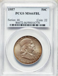 Franklin Half Dollars, 1957 50C MS66 Full Bell Lines PCGS. PCGS Population: (509/30). NGC Census: (92/8). CDN: $160 Whsle. Bid for problem-free NG...