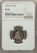 1875-CC 20C VG8 NGC. NGC Census: (88/948). PCGS Population: (137/1758). CDN: $200 Whsle. Bid for problem-free NGC/PCGS V...