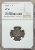 Bust Dimes, 1831 10C VF30 NGC. NGC Census: (17/283). PCGS Population: (23/419). VF30. Mintage 771,350. . From The Poulos Family Col...