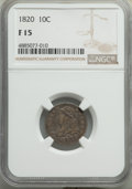 Bust Dimes, 1820 10C Large 0 Fine 15 NGC. NGC Census: (8/208). PCGS Population: (10/198). Fine 15. Mintage 942,587. . From The Poul...