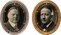 Political:Pinback Buttons (1896-present), Herbert Hoover and Al Smith: Pair of Large Oval Brooches.. ... (Total: 2 Items)