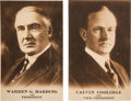 Political:Small Paper (1896-present), Harding & Coolidge: Matched Pair of 1920 Campaign Postcards.. ... (Total: 2 Items)