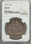 Trade Dollars, 1877 T$1 AU50 NGC. NGC Census: (24/447). PCGS Population: (45/510). AU50. Mintage 3,039,710. . From The Poulos Fami...