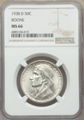 Commemorative Silver, 1938-D 50C Boone MS66 NGC. NGC Census: (124/34). PCGS Population: (198/83). CDN: $500 Whsle. Bid for problem-free NGC/PCGS ...