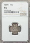 Bust Dimes, 1824/2 10C Fine 12 NGC. NGC Census: (2/48). PCGS Population: (23/101). CDN: $250 Whsle. Bid for problem-free NGC/PCGS Fine ...