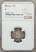 Bust Dimes, 1823/2 10C Small Es Fine 12 NGC. NGC Census: (3/88). PCGS Population: (3/102). CDN: $200 Whsle. Bid for problem-free NGC/PC...