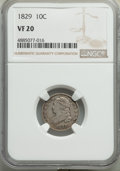 Bust Dimes, 1829 10C VF20 NGC. NGC Census: (12/257). PCGS Population: (0/4). VF20. Mintage 770,000. . From The Poulos Family Collec...