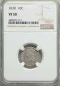 Bust Dimes, 1830 10C Medium 10C VF30 NGC. NGC Census: (7/167). PCGS Population: (15/247). VF30. Mintage 510,000. . From The Poulos ...