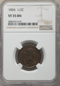 Half Cents, 1804 1/2 C Crosslet 4, Stems VF35 NGC. PCGS Population: (54/344). VF35. . From The Poulos Family...