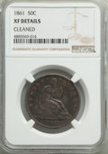 Seated Half Dollars: , 1861 50C -- Cleaned -- NGC Details. XF. NGC Census: (16/440). PCGS Population: (70/632). CDN: $110 Whsle. Bid for problem-f...