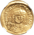 Ancients:Byzantine, Ancients: Maurice Tiberius (AD 582-602). AV solidus (21mm, 4.50 gm, 7h). NGC MS 4/5 - 5/5. ...