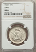 Commemorative Silver, 1936-S 50C Texas MS66 NGC. NGC Census: (515/91). PCGS Population: (577/129). CDN: $215 Whsle. Bid for problem-free NGC/PCGS...