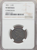 Half Cents, 1811 1/2 C -- Corrosion -- NGC Details. VF. NGC Census: (6/25). PCGS Population: (16/81). CDN: $1,600 Whsle. Bid for proble...