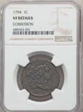 Large Cents, 1794 1C Head of 1795 -- Corrosion -- NGC Details. VF. NGC Census: (14/234). PCGS Population: (48/299). CDN: $1,600 Whsle. B...