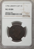 Large Cents, 1796 1C Liberty Cap VG10 NGC. NGC Census: (7/42). PCGS Population: (26/140). VG10. Mintage 109,825. . From The Poulos F...
