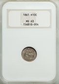 Seated Half Dimes: , 1861 H10C MS63 NGC. NGC Census: (114/235). PCGS Population: (87/190). MS63. Mintage 3,361,000. ...