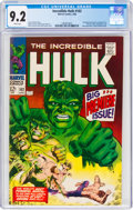 Silver Age (1956-1969):Superhero, The Incredible Hulk #102 (Marvel, 1968) CGC NM- 9.2 White pages....