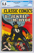 Golden Age (1938-1955):Classics Illustrated, Classic Comics #13 Dr. Jekyll and Mr. Hyde - First Edition (Gilberton, 1943) CGC FN- 5.5 Off-white pages....
