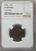 Half Cents, 1806 1/2 C Small 6, No Stems -- Cleaned -- NGC Details. XF. PCGS Population: (121/416). CDN: $325 Whsle....