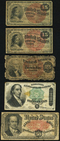 Fractional Currency:Fourth Issue, Five Fractional Notes.. ... (Total: 5 notes)
