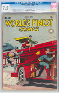 Golden Age (1938-1955):Superhero, World's Finest Comics #30 (DC, 1947) CGC VF- 7.5 Cream to off-white pages....