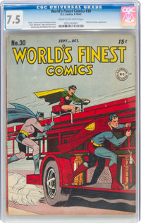 World's Finest Comics #30 (DC, 1947) CGC VF- 7.5 Cream to off-white pages
