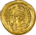 Ancients:Byzantine, Ancients: Justinian I the Great (AD 527-565). AV solidus (22mm, 4.48 gm, 6h). NGC MS 5/5 - 4/5, clipped....