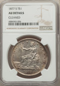Trade Dollars, 1877-S T$1 -- Cleaned -- NGC Details. AU. NGC Census: (50/1237). PCGS Population: (172/1692). AU50. Mintage 9,519,000....