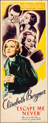 "Escape Me Never (United Artists, 1935). Rolled, Fine+. Insert (14"" X 36""). Drama"