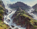 Fine Art - Painting, American, Clyde Aspevig (American, b. 1951). Rushing to the Sea, Norway. Oil on canvas. 40 x 50 inches (101.6 x 127 cm). Signed lo...