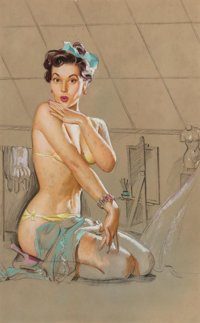 K.O. (Knute) Munson (American, 20th Century) Seated Pin-Up Pastel and charcoal on board 22-1/4 x