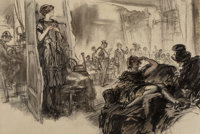 Henry Patrick Raleigh (American, 1880-1944) The Auction Room Charcoal on paper 19 x 26 inches (48.3 x 66.0 cm) Not s