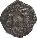 Colombia, Colombia: Philip IV Cob 8 Reales 1657 NR-PoRS VF Details (Environmental Damage) NGC,...