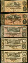 Confederate Notes:1864 Issues, T68 $10 1864 (3) Fine;. T69 $5 1864 (2) Fine.. ... (Total: 5 notes)