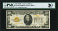 Small Size:Gold Certificates, Fr. 2402 $20 1928 Gold Certificate. PMG Very Fine 30.. ...