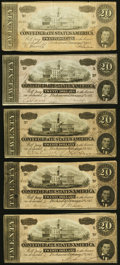 Confederate Notes:1864 Issues, T67 $20 1864 Five Different Series.. ... (Total: 5 notes)
