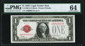 Small Size:Legal Tender Notes, Low Serial Number 916 Fr. 1500 $1 1928 Legal Tender Note. PMG Choice Uncirculated 64.. ...