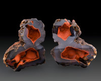 Crater Agate Pair Chubut Province Argentina 5.63 x 4.44 x 1.18 inches (14.31 x 11.27 x 3.00 cm)