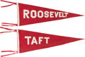 Political:Textile Display (1896-present), Theodore Roosevelt & William Howard Taft: Pair of 1912 Pennants. . ... (Total: 2 Items)